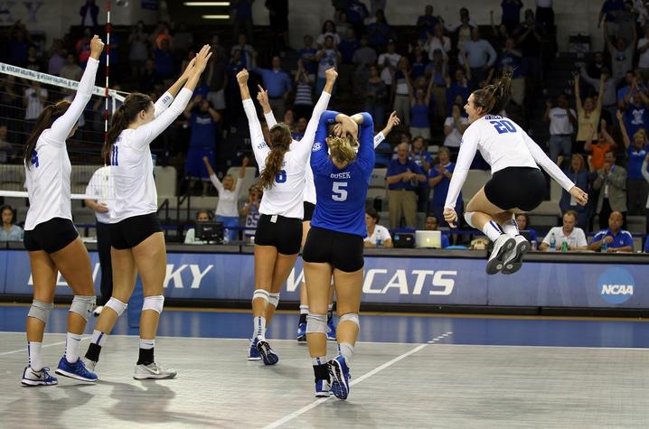 photo of UK Volleyball Team celebrating