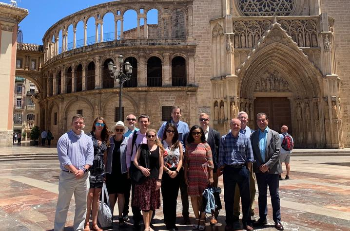 group of people in front of cathedral in Spain