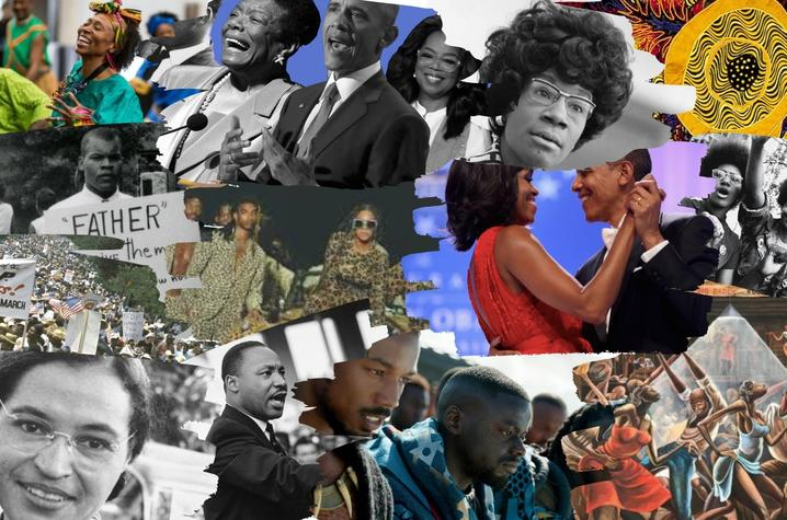 Black History Month collage designed by UK senior and MLK graphic design intern Cymone Webb.