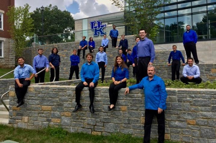 photo of UK Percussion Ensemble outside Student Center