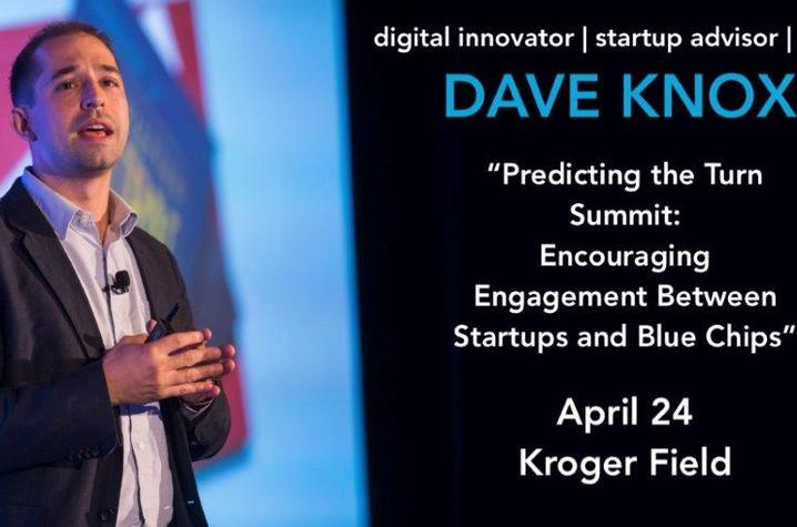photo of web banner for Dave Knox visit with photo of Knox speaking