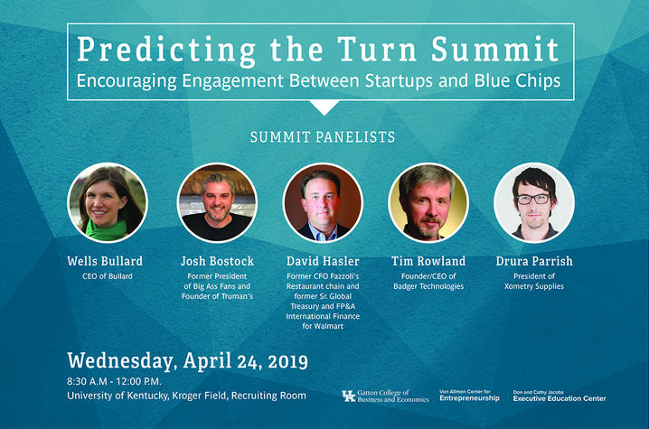 poster for Predicting the Turn Summit including photos of 5 panelists