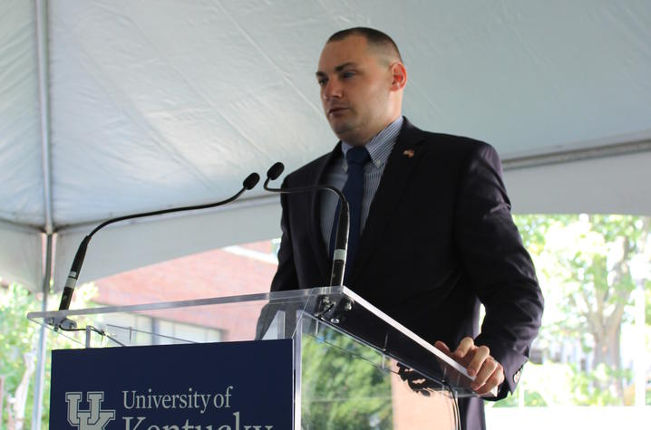 photo of Matthew Bradford speaking at dedication
