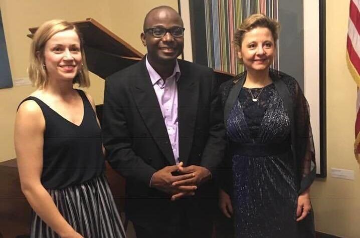 photo of Martina Vasil, Samson Tarpeh and U.S. Ambassador Christine Elder