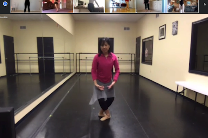 This is a photo of Theresa Bautista, a dance instructor in the UK College of Fine Arts, during a recent online dance class.