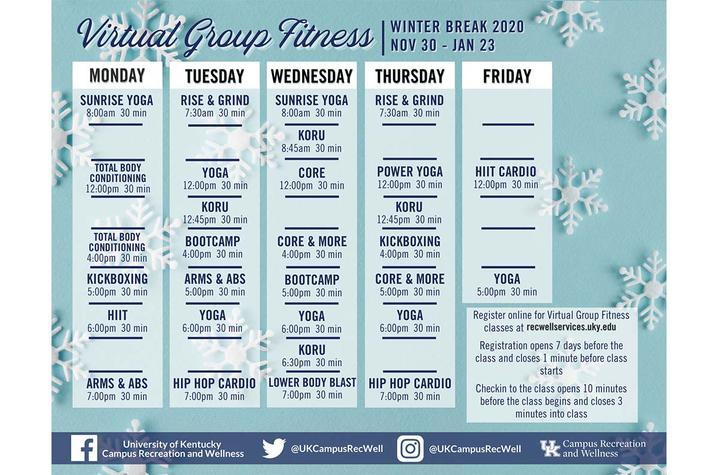 UK Winter Break Virtual Fitness Schedule