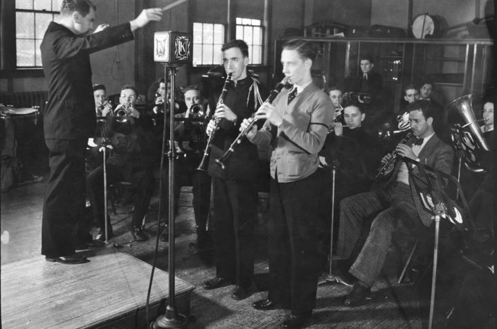 photo of Elmer Sulzer conducting a radio studio band