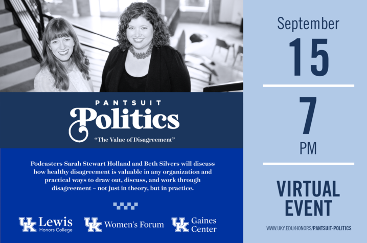 photo of poster for Women's Forum event with Pantsuit Politics