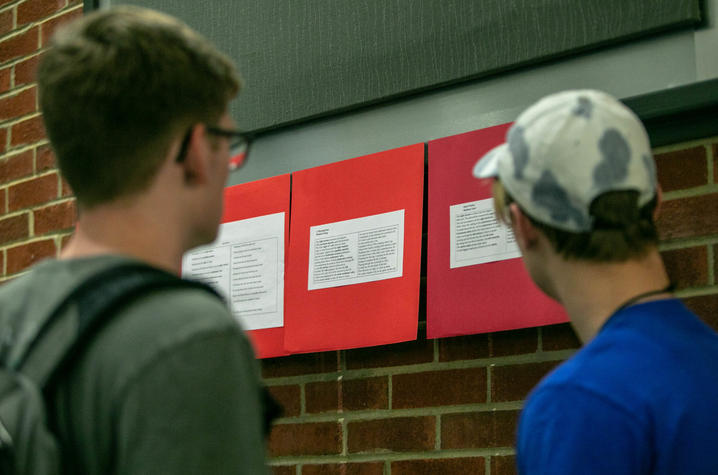 photo of students reading poetry about heart blood flow