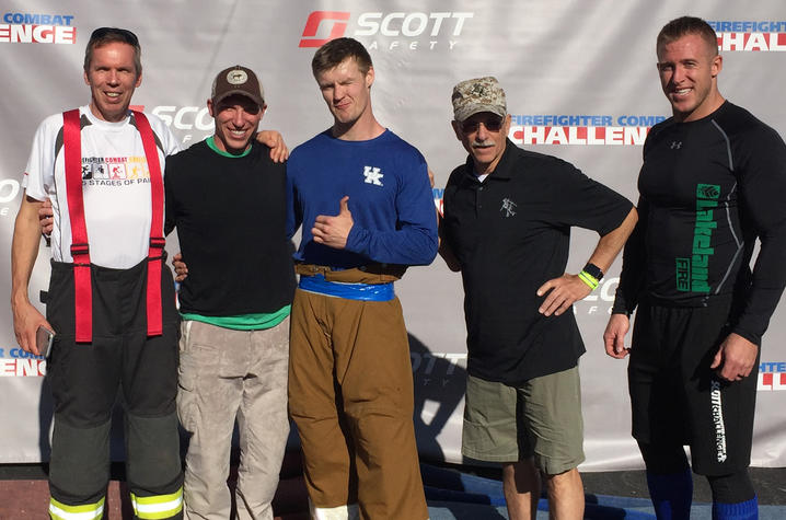 Photo of Competitor Dirk Fuhrman, Mark Abel, Anssi Saari, Scott Firefighter Combat Challenge President Paul Davis and competitor Ryan Fitzgerald
