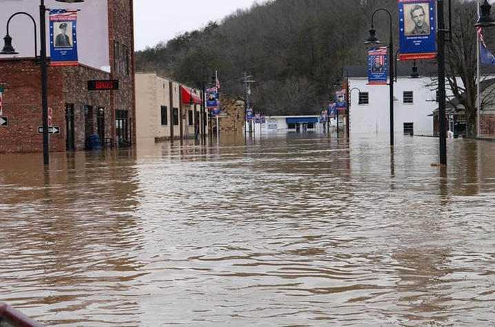 Flooded downtown street in Beattyville, KY