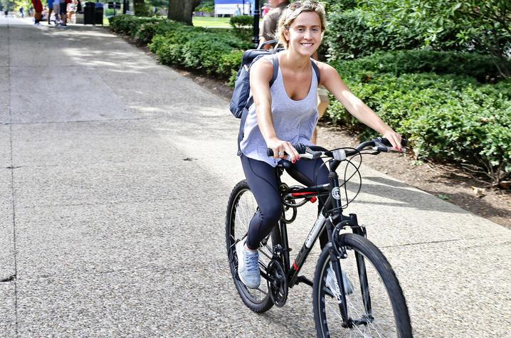 photo of student on bike