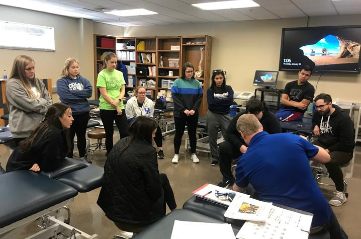 Photo of UK physical therapy students with Professor Pat Kitzman