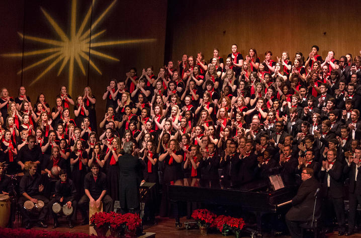 """photo of combined choirs at """"Collage"""""""