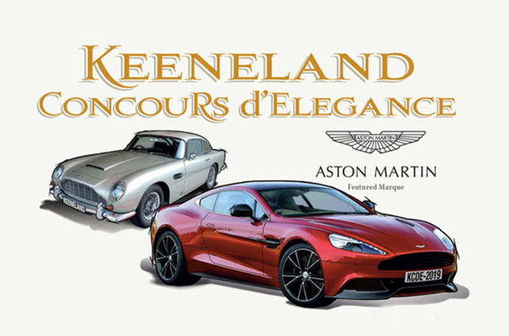 Concours logo and two Aston Martins