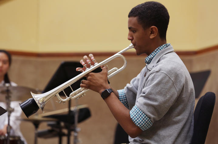 photo of GSA student playing trumpet