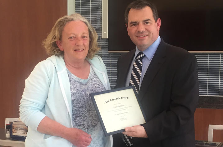 Extra Mile Award winner, Ruth Blackburn, with director of the Disabiity Resource Center, David Beach