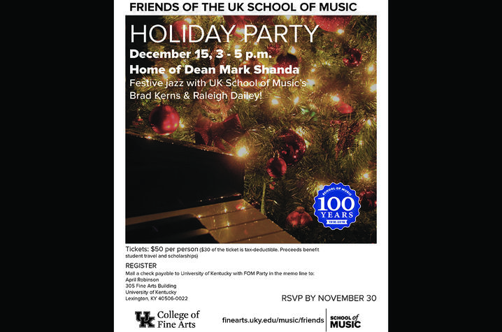 photo of poster for FOM Holiday Party at Dean Shanda's
