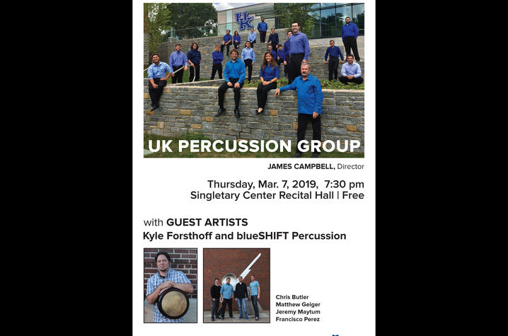 photo of UK Percussion Group March 7 concert poster