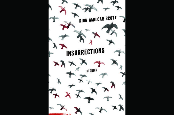 "photo of book cover of ""Insurrections: Stories"" by Rion Amilcar Scott"