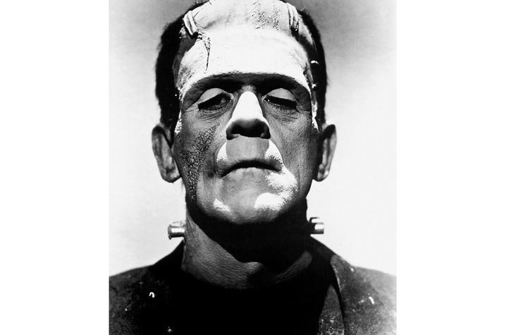 black and white photo of Frankenstein