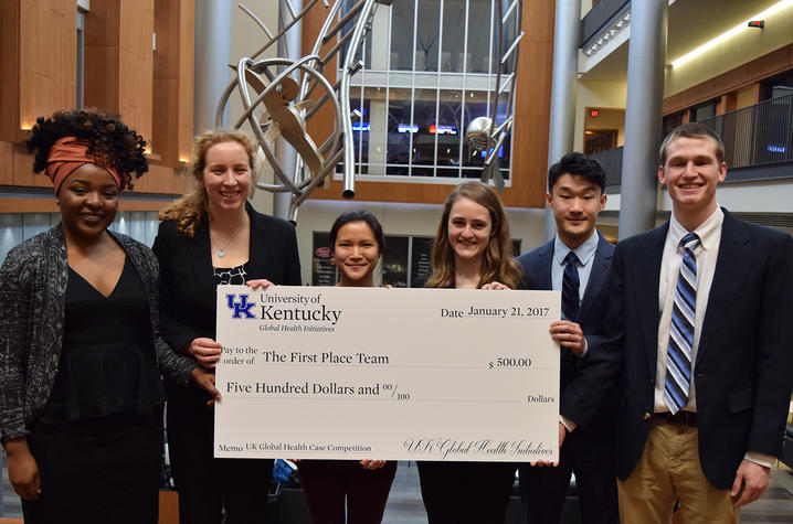 UK's 2017 Global Health Case Competition winners (l-r): Carine Malekera (Health Sciences and Public Health), Kara Jolly (Medicine), Tina Trieu (Pharmacy), Kandice Roberts (Medicine), Yujie Ding (Arts and Sciences), and Luke Archer (Arts and Sciences)