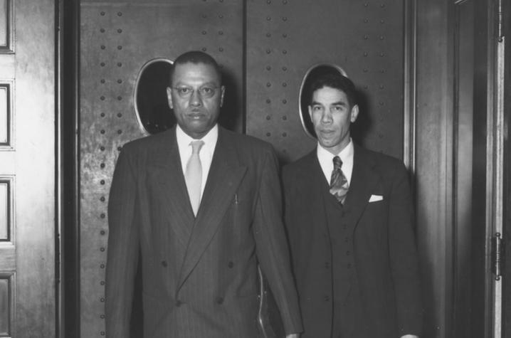 photo of Lyman T. Johnson leaving court in 1949