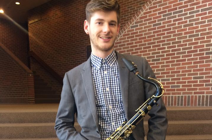 photo of Jonathan Barrett with saxophone