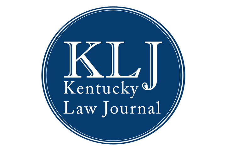 Kentucky Law Journal logo in white lettering set on navy blue circle background