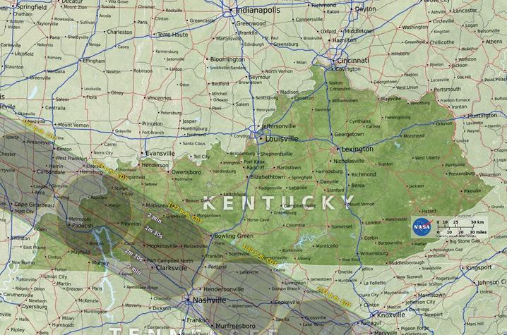 NASA map of 2017 eclipse across Kentucky