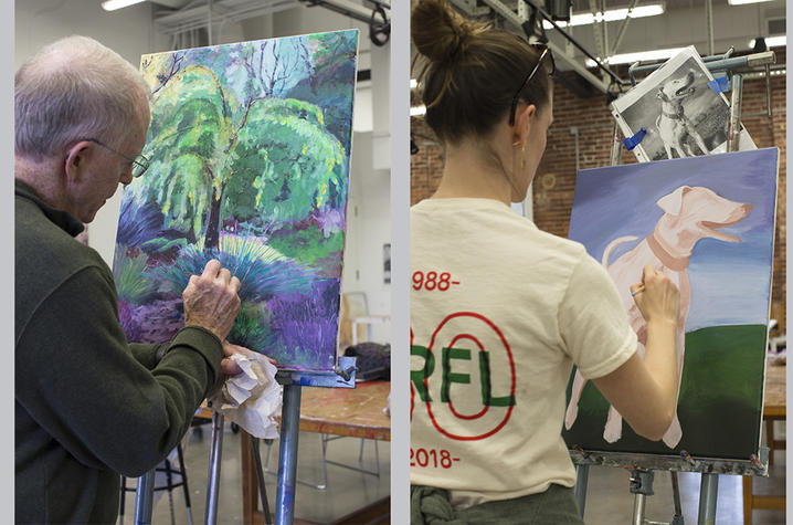 2 photos of students painting in Fine Arts Institute class