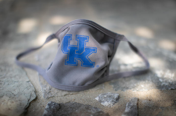 photo of UK logo mask on stone