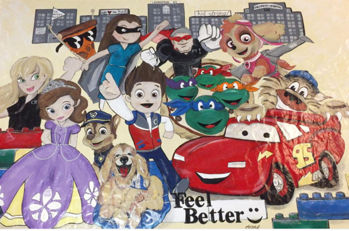 photo of mural depicting cartoon characters