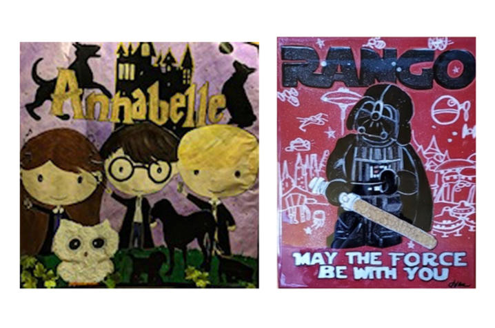 Photo of two paintings depicting characters from Harry Potter and Star Wars