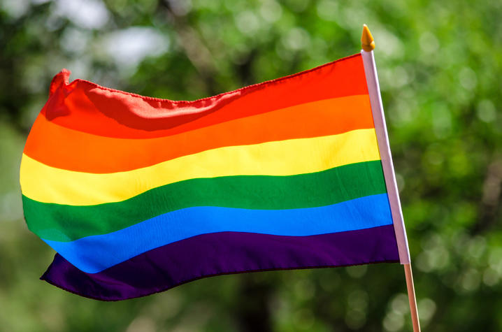 photo of rainbow colored flag