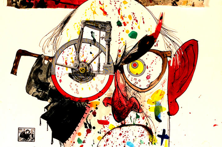 "photo of illustration ""Don't draw, Ralph! It's a filthy habit…"" by Ralph Steadman"