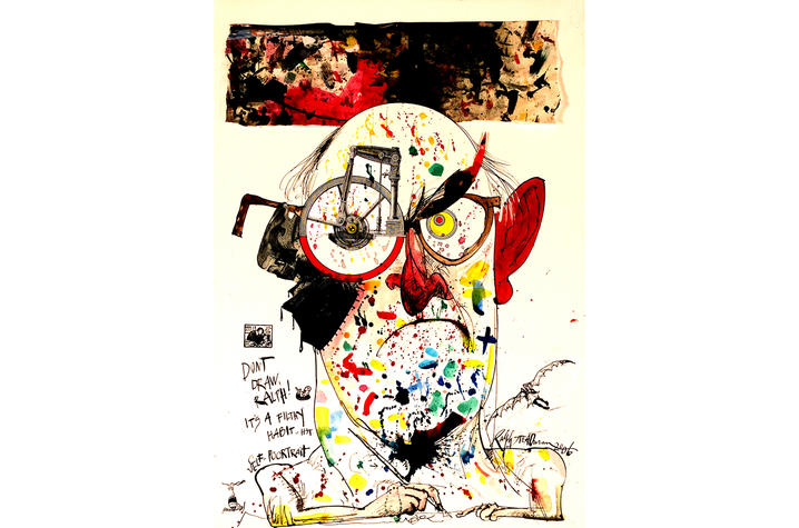 """photo of illustration """"'Don't draw, Ralph! It's a filthy habit…' HST. Self-Poortrait"""" by Ralph Steadman"""