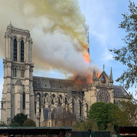 photo of fire at Notre Dame Cathedral