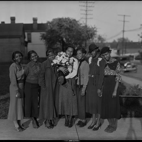 black and white photograph of female students from Dunbar High School