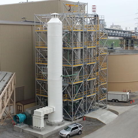 Photo of CAER's carbon capture facility at LG&E's E.W. Brown Generating Station in Burgin, Kentucky.