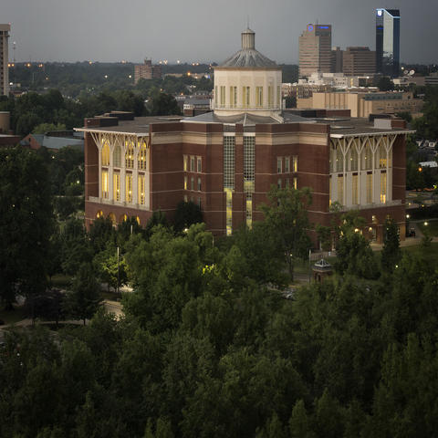 photo of Young Library with Lexington in background