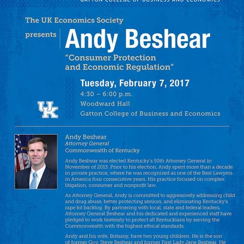 Poster for UK Economics Society Presents Andy Beshear