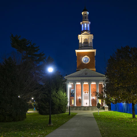 photo of Memorial Hall with blue light
