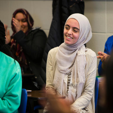 photo of Hadeel Abdallah seated in class