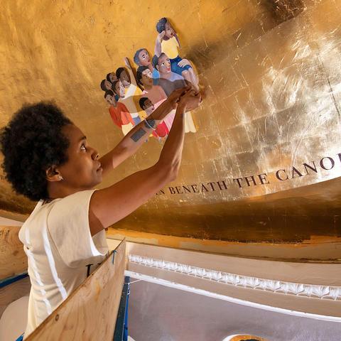 "photo of Karyn Olivier works on ""Witness"" in Memorial Hall"