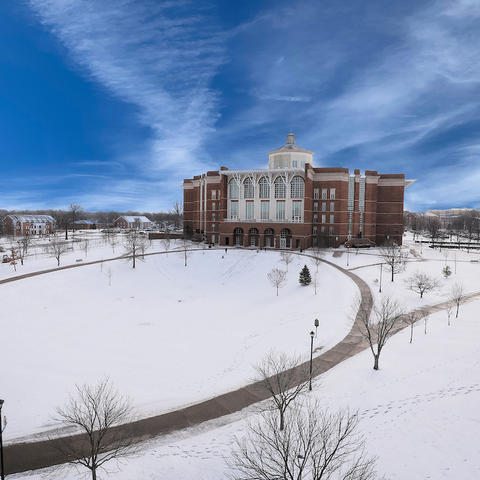Photo of William T. Young Library in the winter
