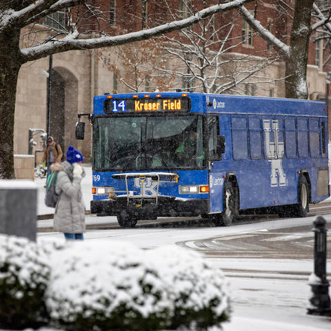 Photo of UK bus in winter weather