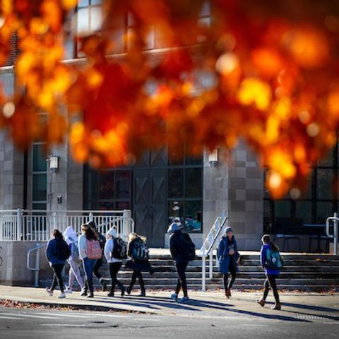 photo of students walking