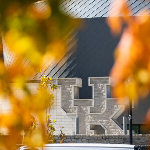 Photo of UK sign in front of student center