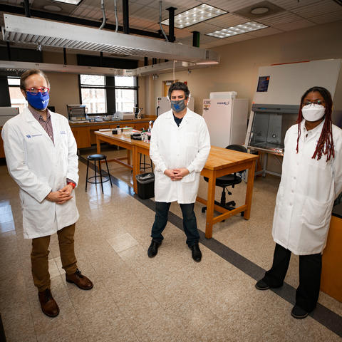 University of Kentucky researchers James Keck, Scott Berry and Shakira Hobbs are testing a new technology to evaluate wastewater to track community presence of COVID-19. Pete Comparoni | UK Photo.